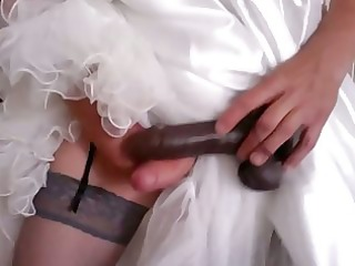 crossdress bride joy with darksome dildo